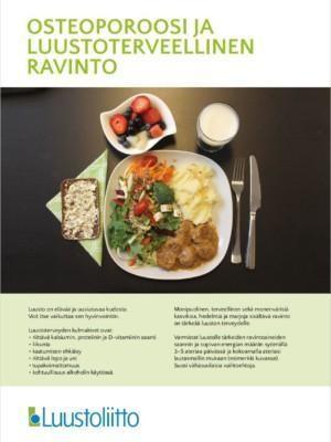 Osteoporoosi ja luustoterveellinen ravinto -esitteen kansi.