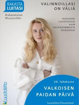 Nuori nainen valkoisessa paidassa: Valinnoillasi on väliä - huolehdi luustostasi kuin valkoisimmasta paidastasi.