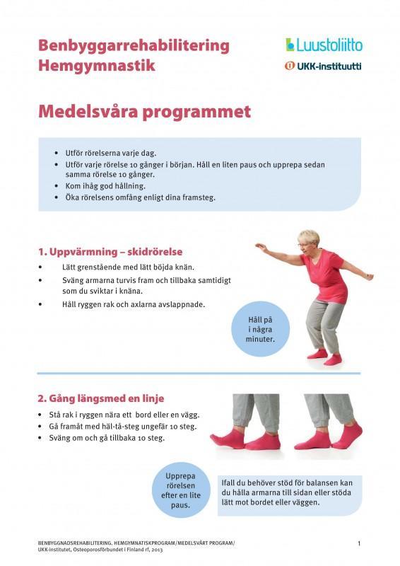 Benbyggarrehabilitering hemgymnastik: medelsvåra programmet