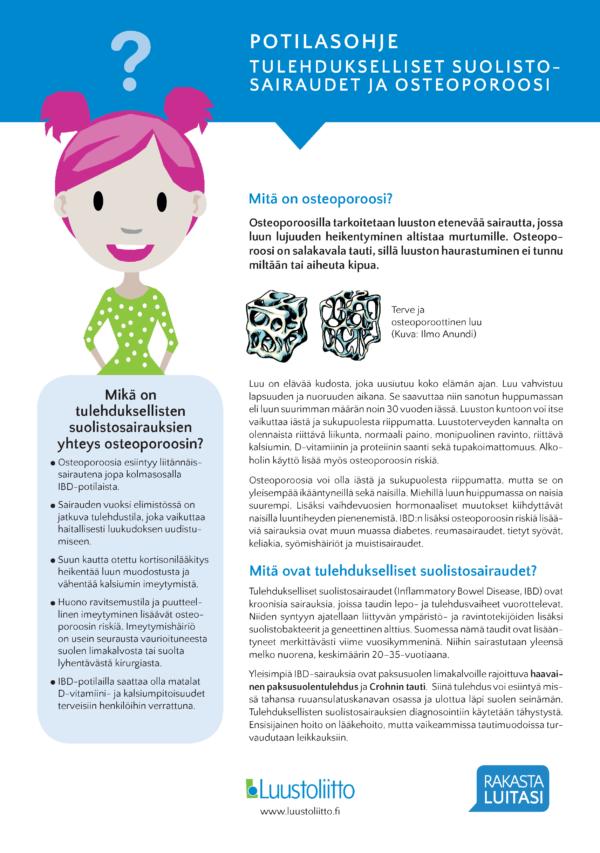 Tulehdukselliset suolistosairaudet ja osteoporoosi -esitteen etusivu.